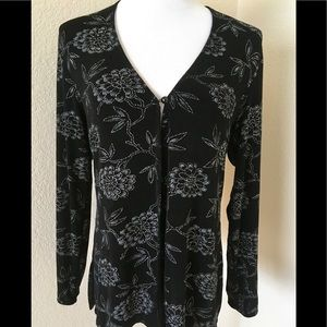Silver black Cardigan top open front long sleeves